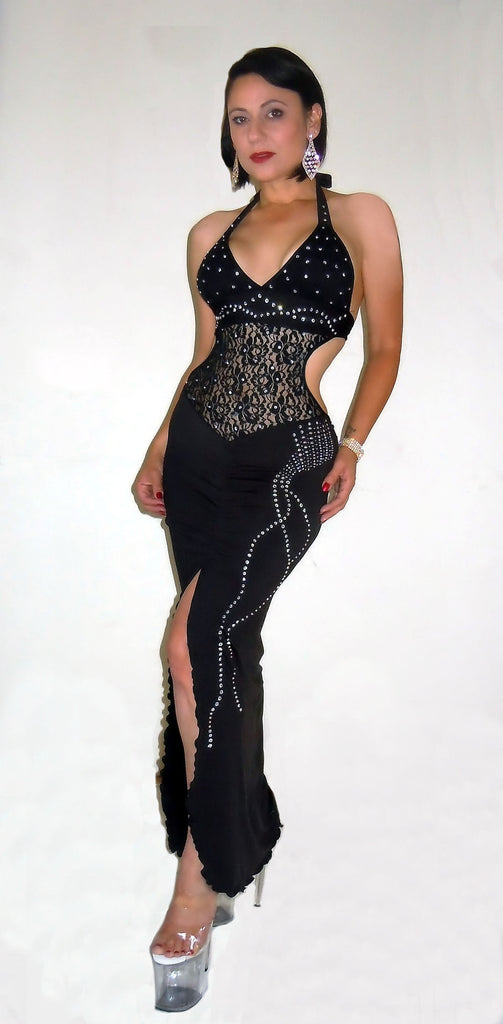 SEXY STRIPPER RHINESTONE FLASH GOWN W/LACE INSERT BY LA KISS.COM