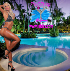 POOL PARTY BIKINI SEXY BEACHWEAR MIDNIGHT RHINESTONE EMBELLISHED BIKINI BY LAKISS.COM