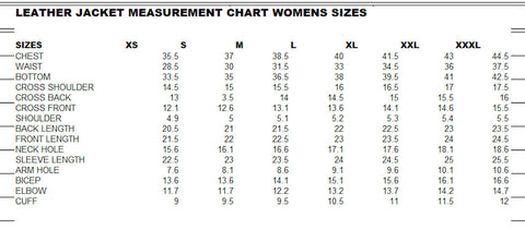 Leather Moto Jacket Sizing Chart