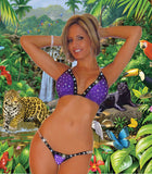 POOL PARTY BIKINIS SEXY BEACHWEAR WIDE BAND RHINESTONE & CHAIN ACCENT THONG BIKINI FULLY LINED BY LA KISS.COM - LA Kiss.com - 1