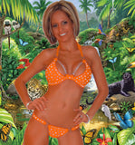 SEXY BEACHWEAR POOL PARTY SCRUNCH BUTT BIKINI W/RHINESTONE & CHAIN ACCENT BY LA KISS.COM - LA Kiss.com - 1