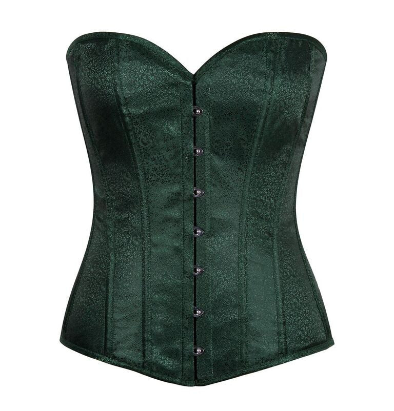 Lavish Dark Green Brocade Corset - LA Kiss.com