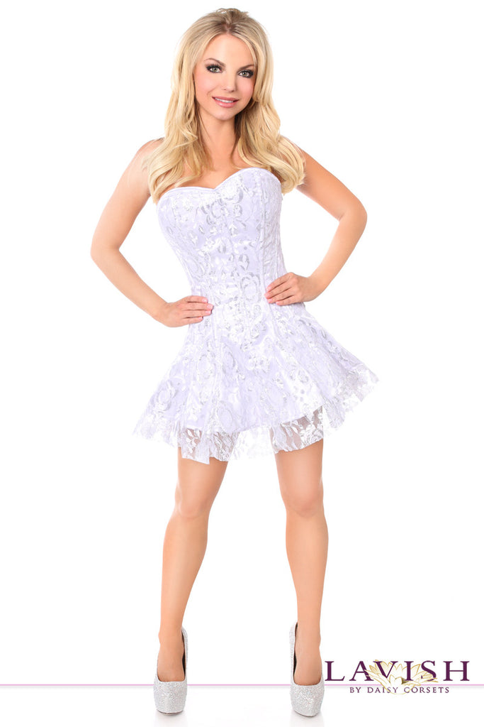 Lavish White/Silver Lace Corset Dress - LA Kiss.com - 1
