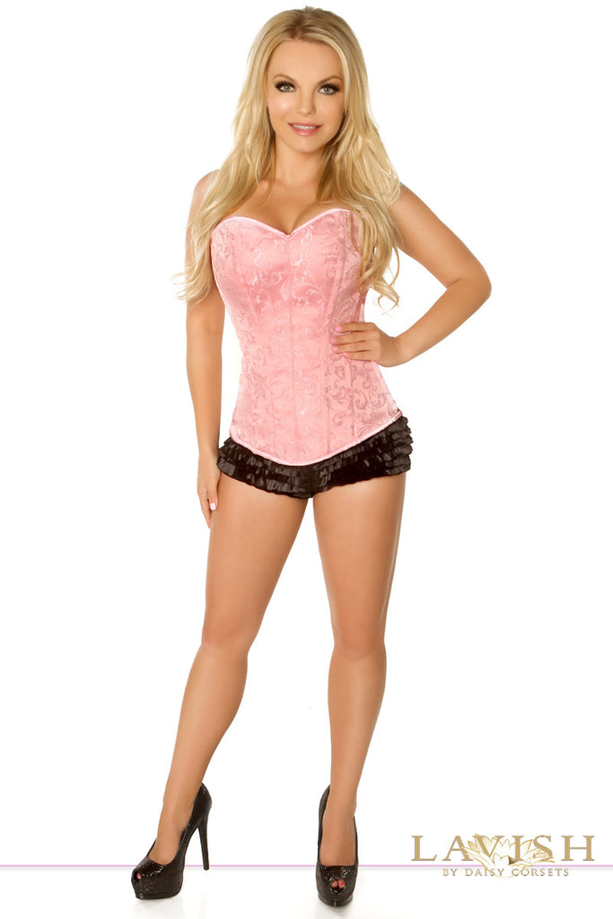 Lavish Pink Brocade Side Zipper Corset - LA Kiss.com - 1