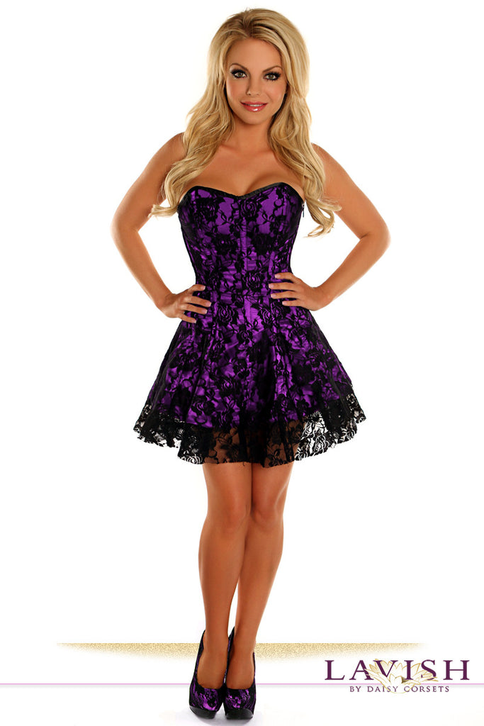 Lavish Purple Lace Corset Dress - LA Kiss.com - 1