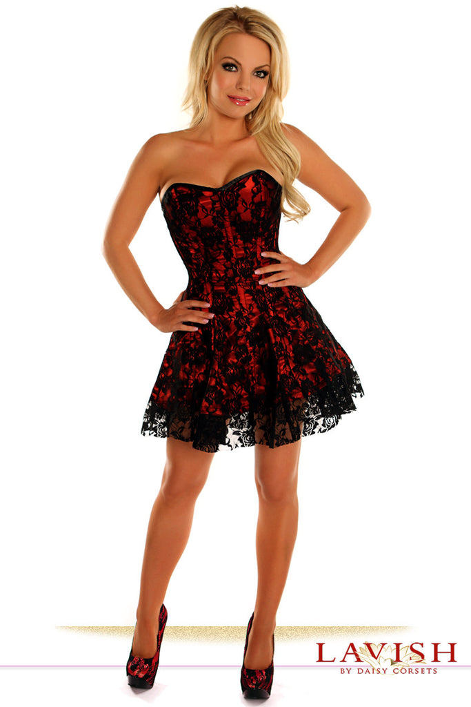 Lavish Red Lace Corset Dress - LA Kiss.com - 1