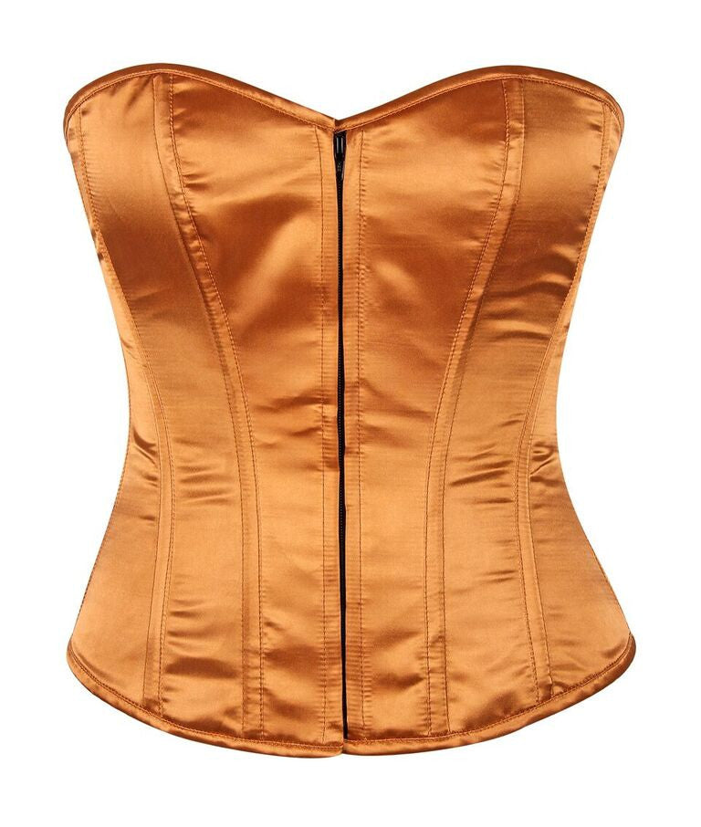 Lavish Bronze Sweetheart Front Zipper Corset - LA Kiss.com