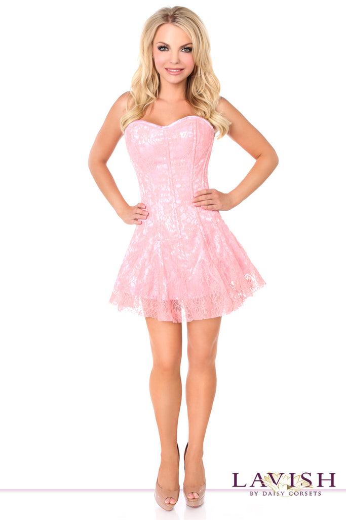 Lavish Light Pink Lace Corset Dress - LA Kiss.com - 1