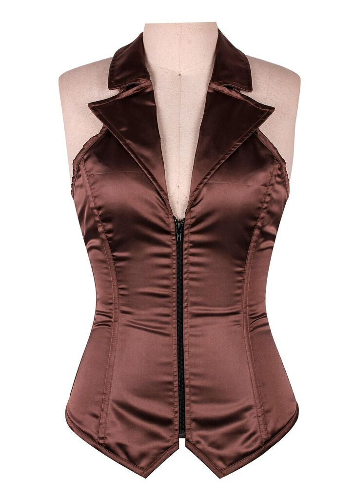 Lavish Brown Collared Front Zipper Corset - LA Kiss.com