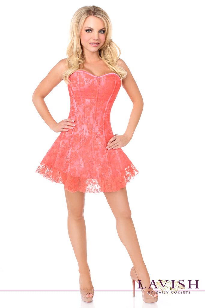 Lavish Coral Lace Corset Dress - LA Kiss.com - 1