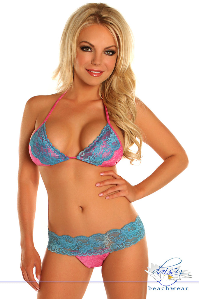 Pink Glitter Lace Trim Pucker Back Bikini - LA Kiss.com - 1