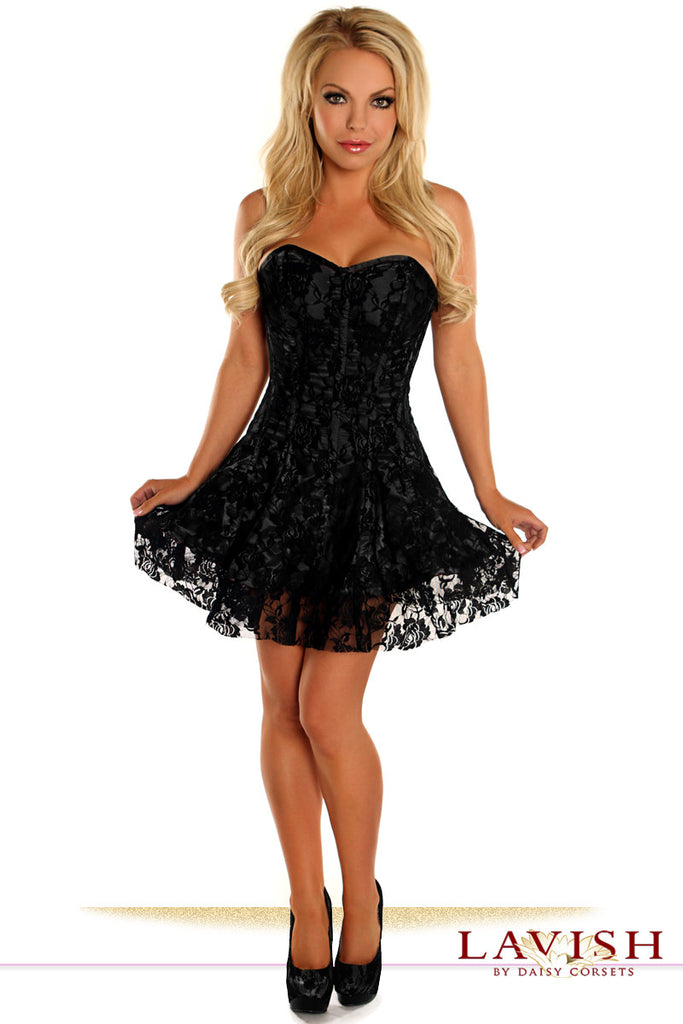 Lavish Black Lace Corset Dress - LA Kiss.com - 1
