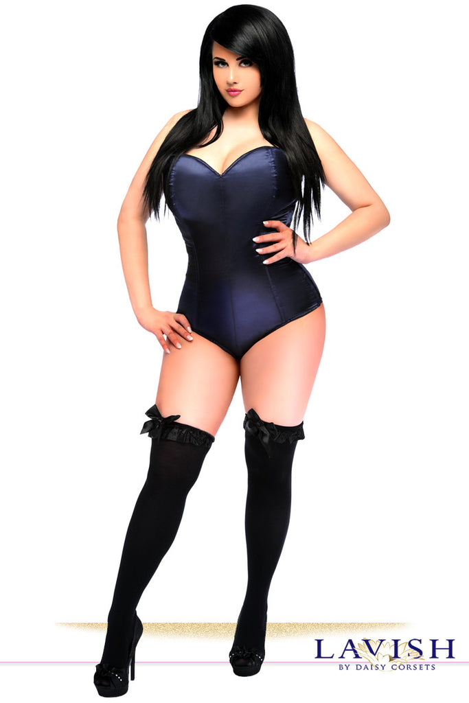 Lavish Navy Blue Satin Corset Romper - LA Kiss.com - 1