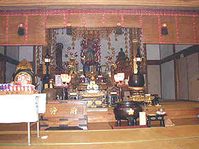 Inside Yoko's Village Buddhist temple, a few doors down from her home.