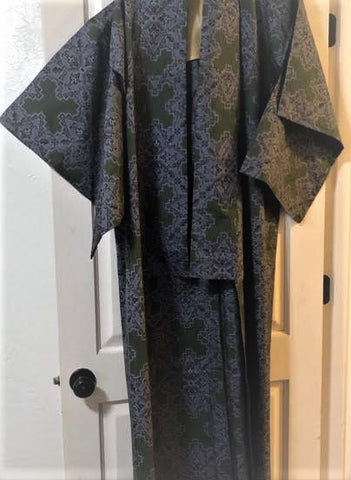 1950s Japanese Ohshima Tsumugi Silk Kimono, used to make this jacket