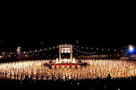 Yamaga Toro Matsuri -- Picture of Main Stage and 1000 dancers with paper lantern head dresses