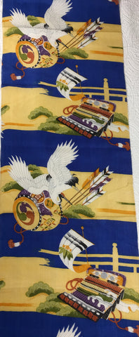 5463 boys ceremonial kimono silk, one yard view