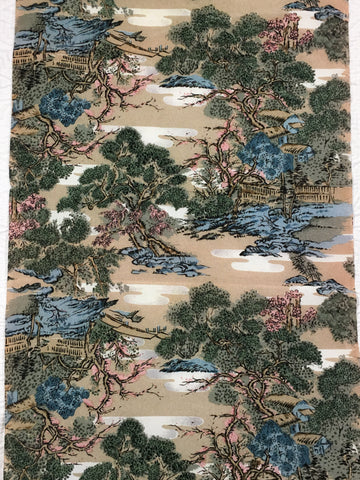 5503 1960s kimono silk, country home, trees, closeup101
