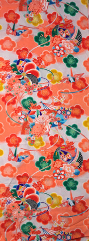 6582: 1960s Girls  Silk Fabric,14in.x36""