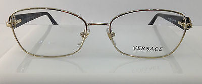 45a423244ac Versace Mod. 1210 Gold Black 1252 Metal Eyeglasses 54-16-135 Authentic