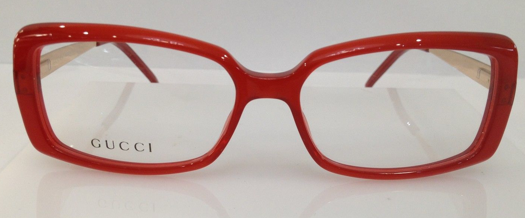 GUCCI GG 3546 RED GOLD 772 PLASTIC EYEGLASSES FRAME ITALY 52-15-135 ...