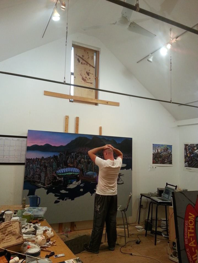 In Michael Birawer studio working on Vancouver original painting