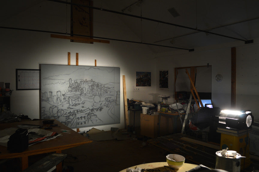 Wall projection of Vancouver drawing in Michael Birawer Studio