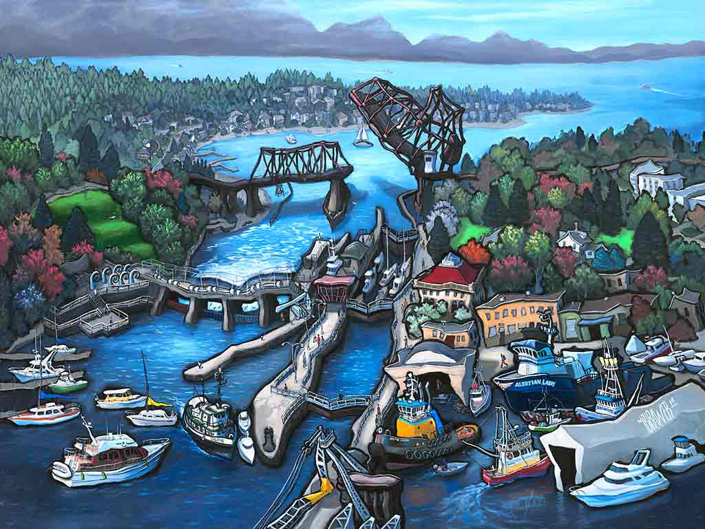 Ballard Locks Original Painting