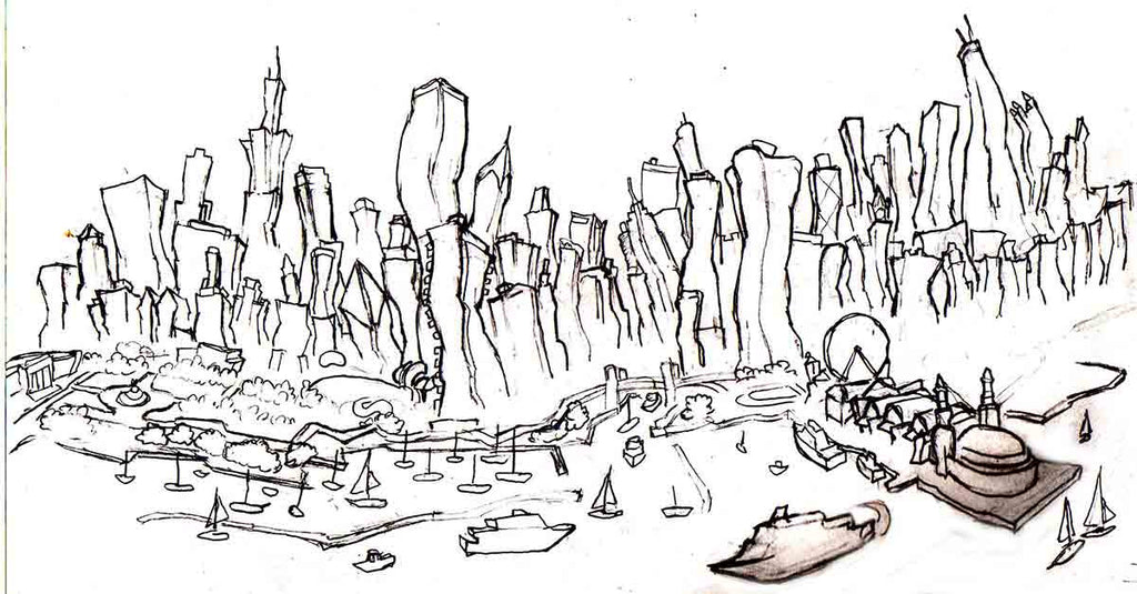 Chicago Skyline Concept Drawing