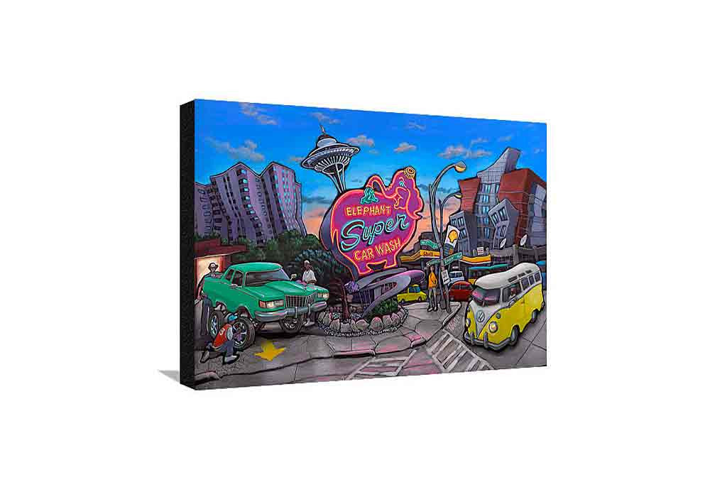Elephant Car Wash Medium Canvas