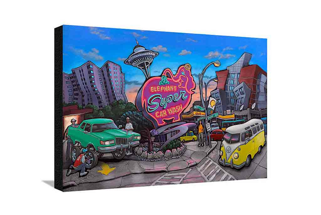 Elephant Car Wash Large Canvas