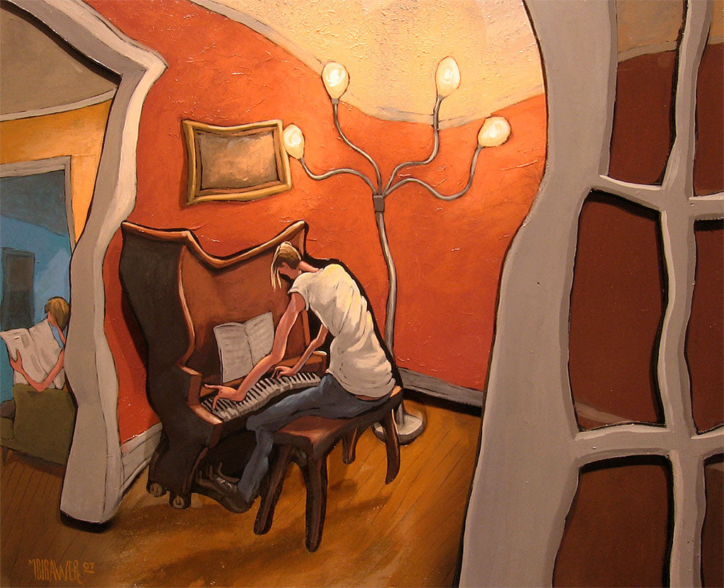 Man Playing Piano Cutout Painting