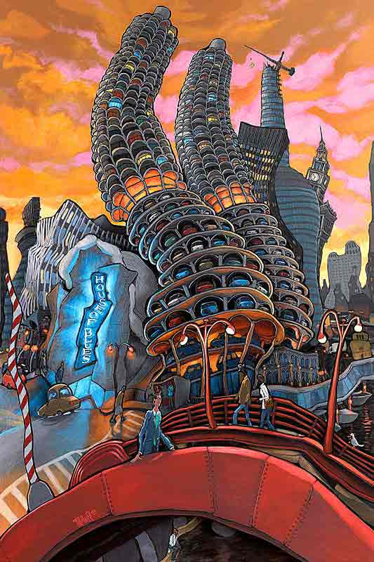 Marina City with House of Blues Original Painting
