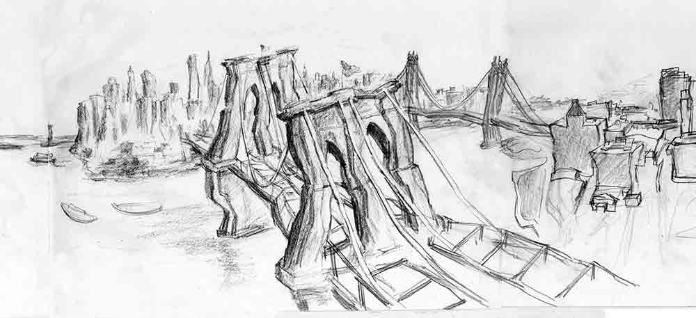 Brooklyn Bridge New York Concept Drawing