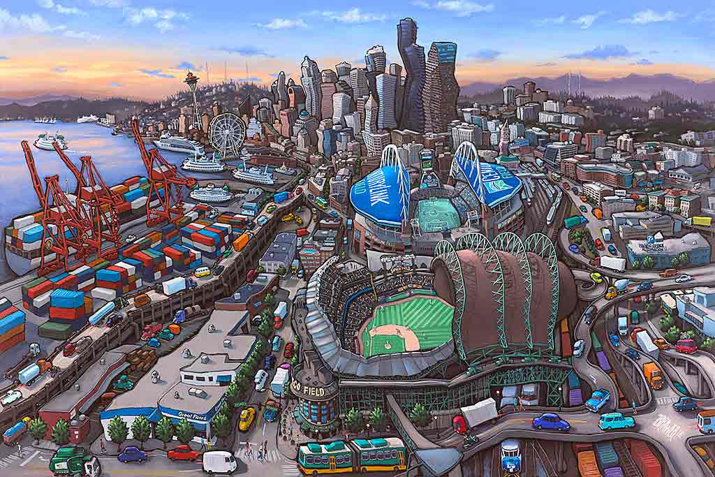 Seattle Stadiums Original Painting