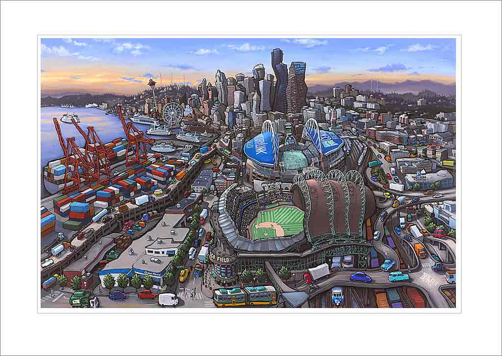 Seattle Stadiums Small Canvas