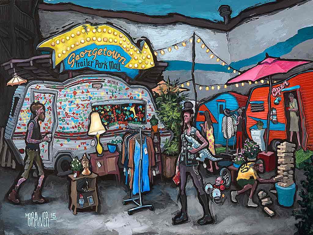 Georgetown Trailer Park Mall Original Painting