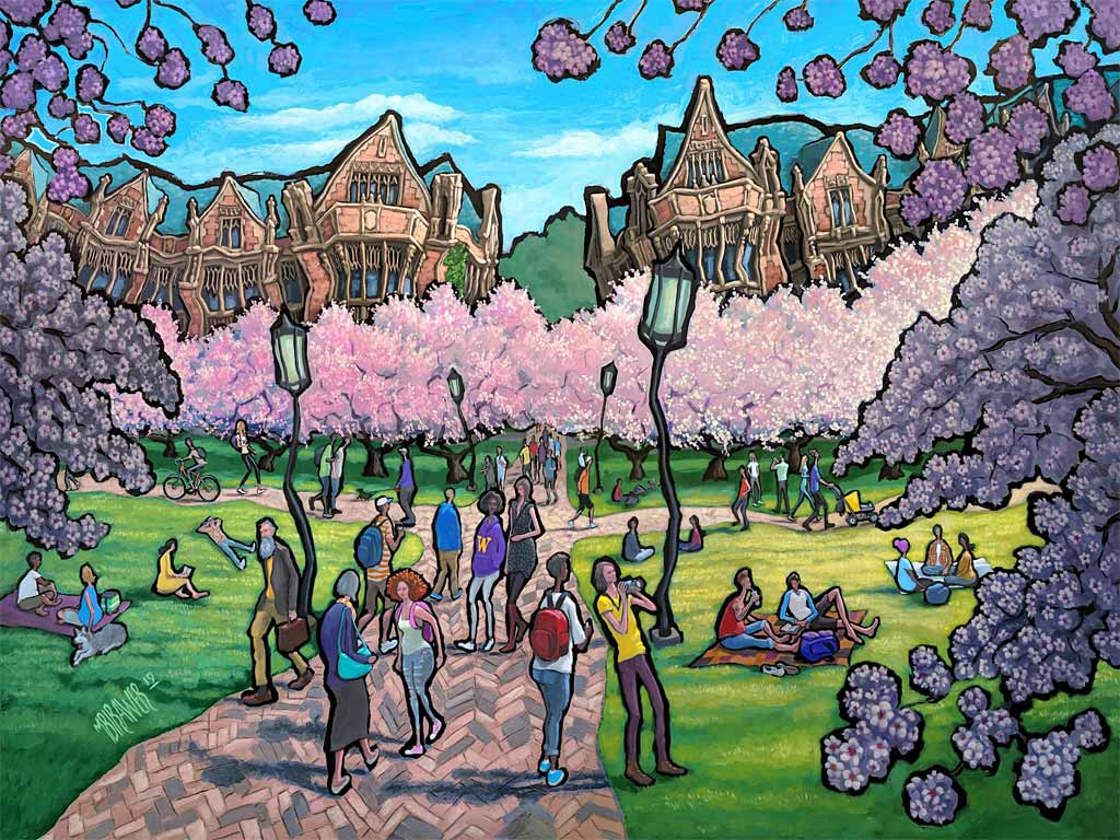 University of Washington - The Quad Original Painting