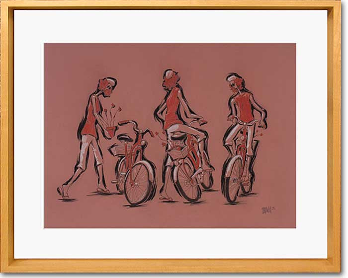 Woman With Bicycle Original Drawing