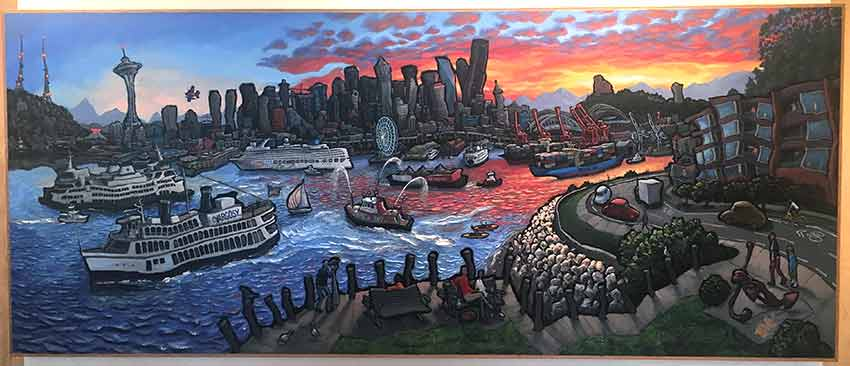 View from West Seattle Original Painting