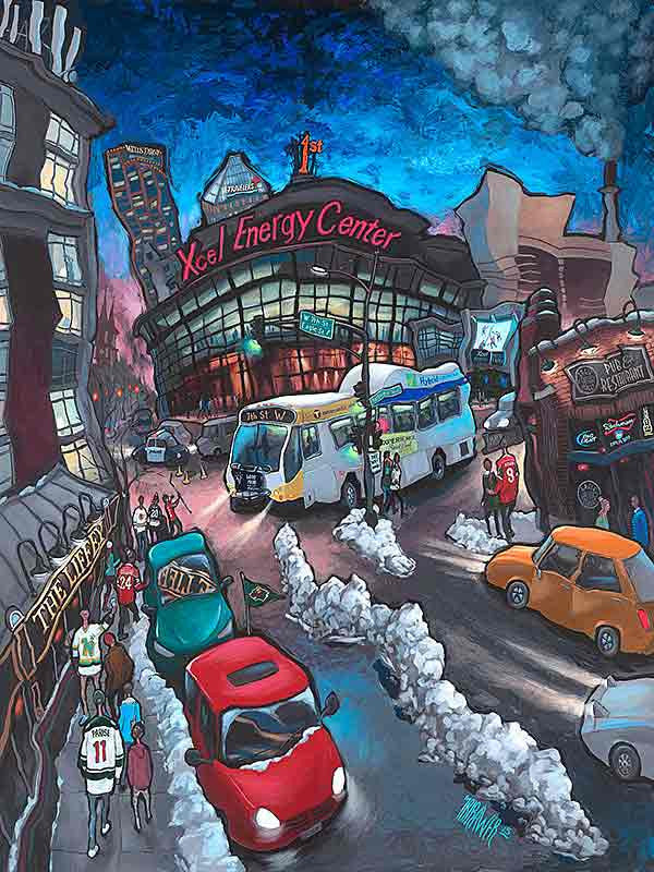 Xcel Energy Center - Home of the Wild Original Painting