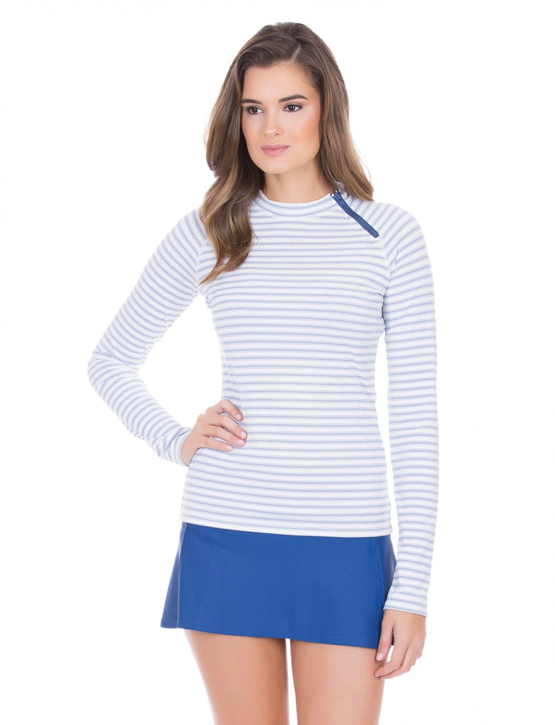 Cabana Life Navy Ticking Stripe Zipper Rashguard - Ship Chic
