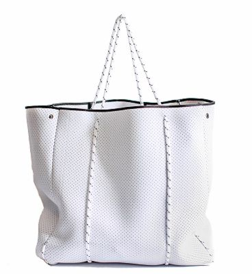 Dewdrop Designs Large White Neoprene Tote and Pouch - Ship Chic