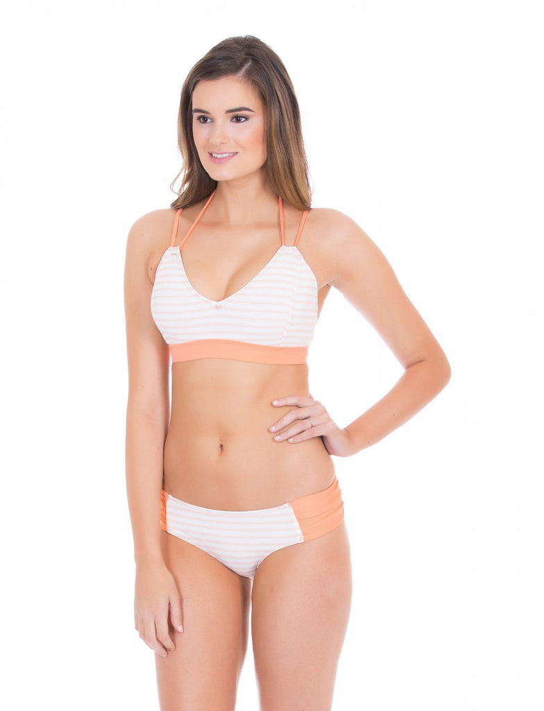 Cabana Life Coral Ticking Stripe Ruched Bikini Bottom - Ship Chic