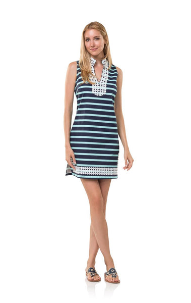 The Classic Slub Stripe Navy/Aqua Tunic Dress