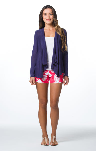 Tori Richard Santorini Knit Saffron Cardigan - Navy - Ship Chic