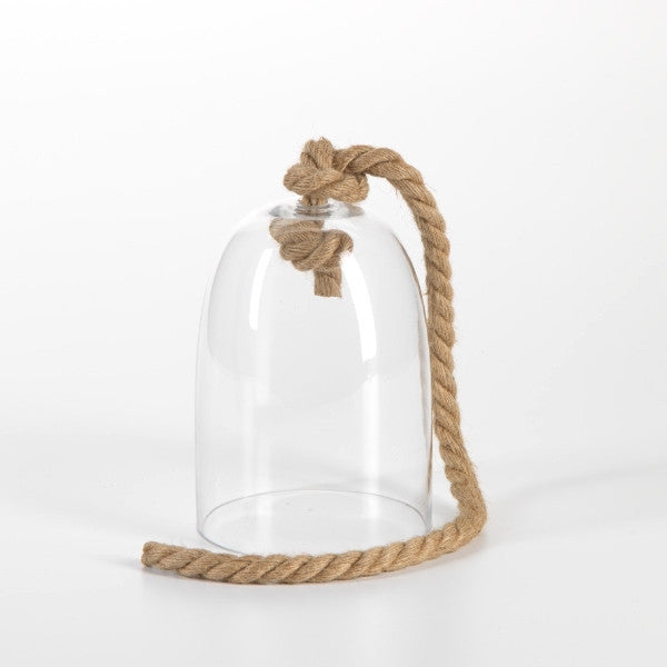 Zodax Maroc Glass Cloche with Rope Handle - Small - Ship Chic