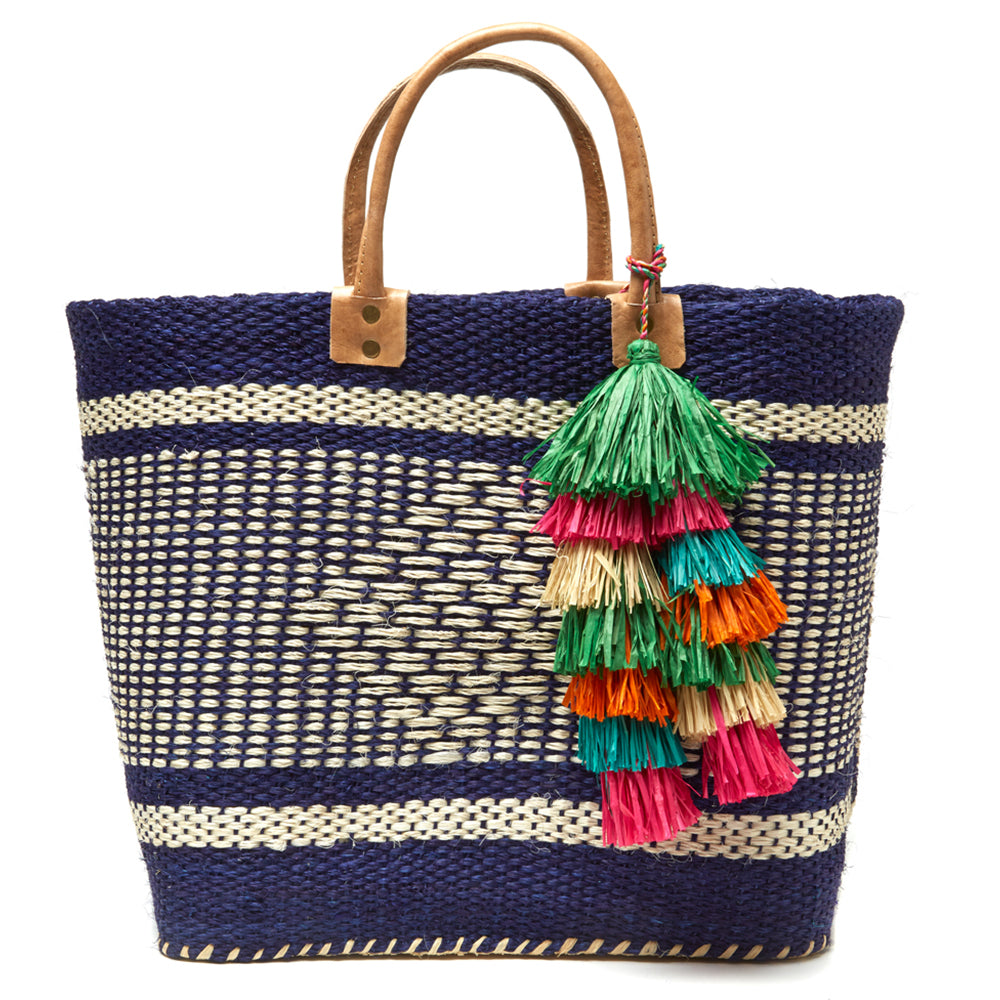 Mar Y Sol Ibiza Tassel Tote in Aqua - Ship Chic