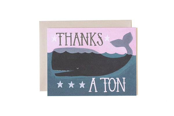 onecanoetwo Thanks A Ton Whale Card - Ship Chic