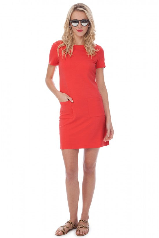 Persifor Carter Solid Ponte Dress- Flame Red - Ship Chic